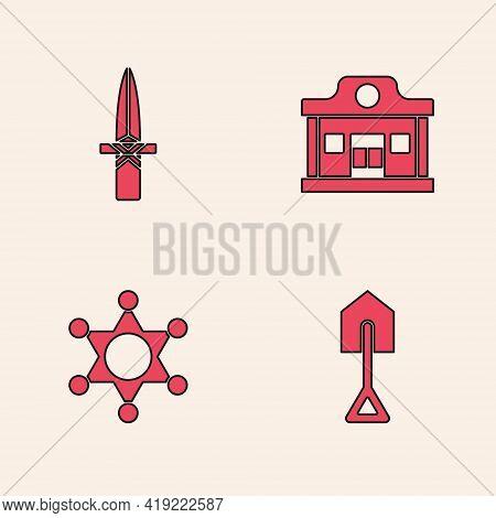 Set Shovel, Dagger, Wild West Saloon And Hexagram Sheriff Icon. Vector