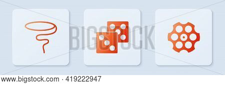 Set Game Dice, Lasso And Revolver Cylinder. White Square Button. Vector