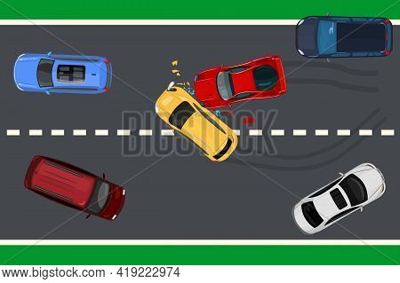 Two Car Accident Top View.  Vehicle Collision On The Road. Car Crash Concept. Highroad With Crashed