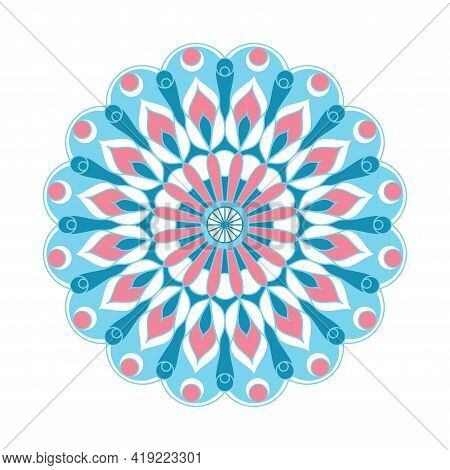 Mandala Ornament Vector. A Symmetrical Geometry Color Flower. Ethnic Draw. Winter Illustration.
