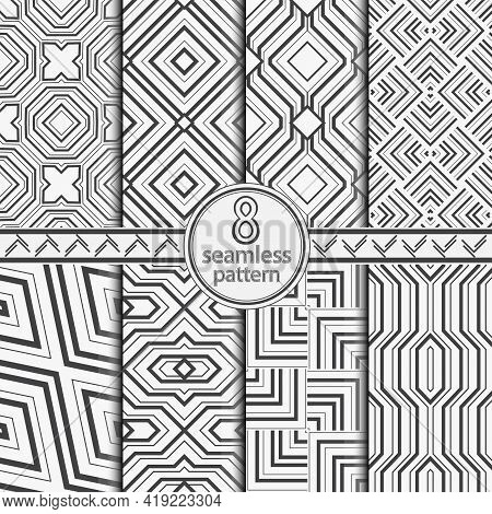 Seamless Vector Patterns Set. Abstract Monochrome Texture With Regular Repetition Of Angular Shapes,