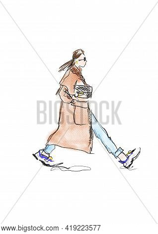 Hand-drawn Abstract Fashion Illustration Sketch Of A Silhouette Of Walking Imaginary Girl In A Stree
