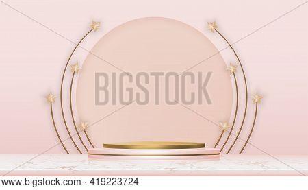 Eid Mubarak Greeting Card With Golden Stars On Pink Podium, Vector Illustration Background For Musli