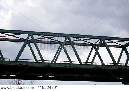 Steel Construction As A Railway Bridge In Germany With Riveted Steel Girders