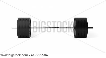 Barbell With Chrome Handle And Black Plates Front View On White Background, Sport, Fitness, Exercise
