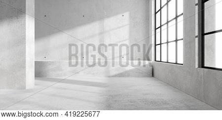 Abstract Empty, Modern Concrete Room With Sun Light Thru Window On The Right Wall And Rough Floor -