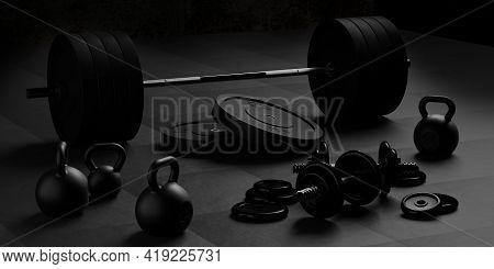 Barbell, Kettlebells And Dumbbells With Black Plates On Floor On Black Mats Background, Sport, Fitne