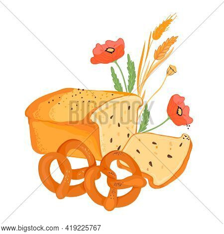 Hand Drawn Bread And Wheat Ears For Bakery Emblems And Packaging Prints, Flat Vector Illustration Is