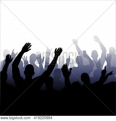 Vector Illustration Of A Silhouette Of A Crowd Of People. Isolated Monochrome Image Of People With R