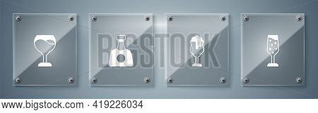 Set Glass Of Champagne, Beer, Tequila Bottle And Wine Glass. Square Glass Panels. Vector