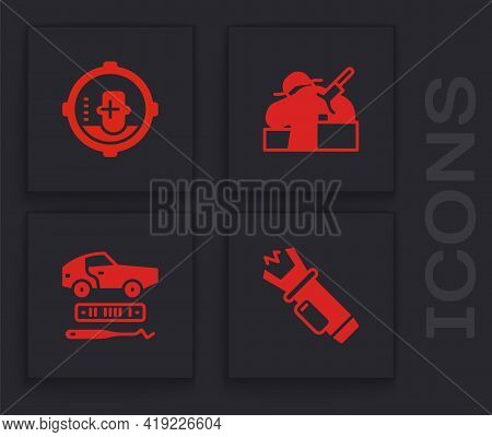 Set Police Electric Shocker, Headshot, Murder And Car Theft Icon. Vector