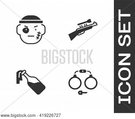 Set Handcuffs, Bandit, Cocktail Molotov And Sniper Rifle With Scope Icon. Vector