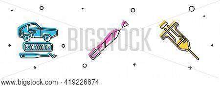 Set Car Theft, Marijuana Joint And Syringe Icon. Vector