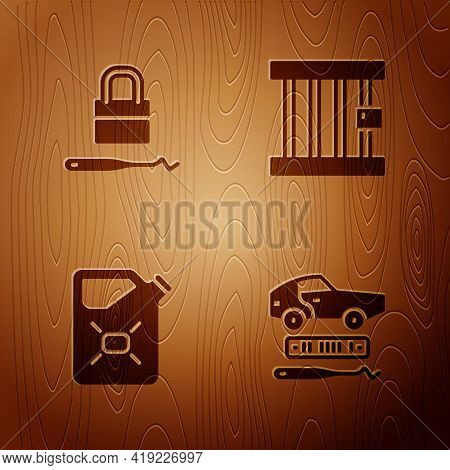 Set Car Theft, Lock Picks For Lock Picking, Canister Fuel And Prison Window On Wooden Background. Ve