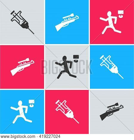 Set Syringe, Sniper Rifle With Scope And Murder Icon. Vector