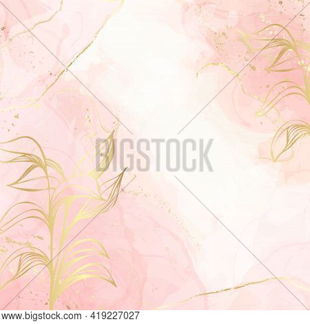 Abstract Dusty Blush Liquid Watercolor Background With Gold Floral Decoration Elements. Pastel Pink