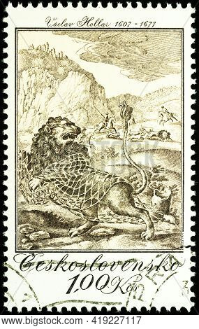 Moscow, Russia - May 01, 2021: Stamp Printed In Czechoslovakia Shows Painting The Lion And The Mouse