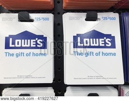 Indianapolis - Circa February 2021: Lowe's Gift Cards. Gift Cards Are Accepted Online Or At Lowe's L