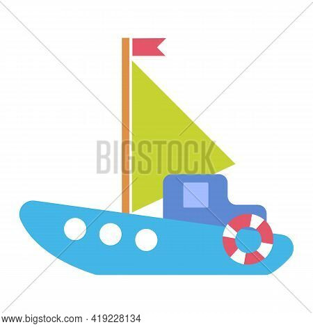 Children S Toy Sailboat Boat For Boys And Girls With A Sail And A Flag. Vector Illustration In Carto