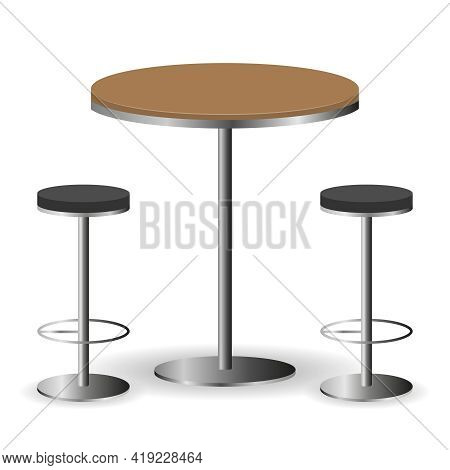 Bar Table With Chairs. Table With Two Chairs Isolated On A White Background. Vector, Cartoon Illustr