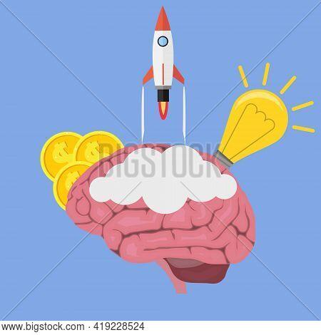 Creative Idea, Startup. A Rocket Flies Out Of The Human Brain. Vector, Cartoon Illustration. Vector.
