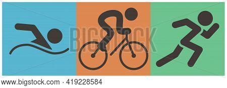 Summer Sports Icons -  Triathlon Icon. Vector Illustration