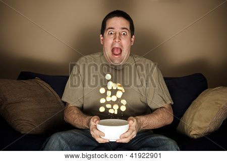 A Man Scared At Horror Movie