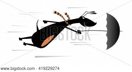 Windy Day And Dog Flies With Umbrella Illustration. Cartoon Dachshund With An Umbrella Gone With The