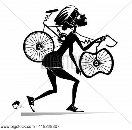 Tired Cyclist With A Broken Bike Isolated Illustration.  Tired Cartoon Cyclist Woman In Helmet Carri