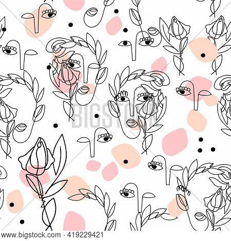 Light Seamless Pattern With One Line Continuous Surreal Women Face And Rose On White. Abstract Symbo