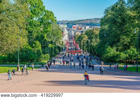 Oslo, Norway, September, 19, 2019: Karl Johans Gate In The Center Of Oslo Leading To Royal Palace. T