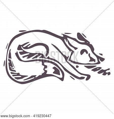 Hand Carved Bold Block Print Fox Icon Clip Art. Folk Illustration Design Element. Modern Boho Decora