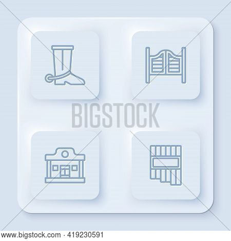 Set Line Cowboy Boot, Saloon Door, Wild West Saloon And Pan Flute. White Square Button. Vector