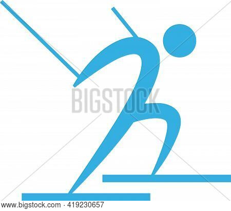 Winter Sport Icon - Cross-country Skiing Icon. Vector Illustration
