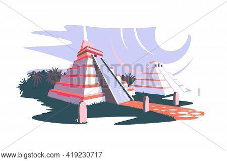 South America And Ancient Mayan Pyramids Vector
