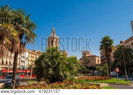 Valencia, Spain - 07-21-2019 Valencia Cathedral And Miguelete Bell Tower On St. Mary Square Known As