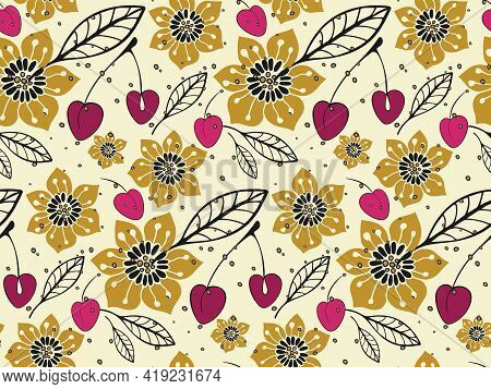 Cute Floral Seamless Pattern. Hand Drawn Folklore Illustration Of Flowers, Cherry, Outline Leaves In