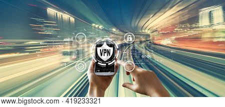 Vpn Concept With Person Using A Smartphone Over Abstract High Speed Technology Pov Motion Blur