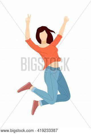 Happy Girl Jumping. Joy, Lifestyle, Victory Celebration, Smiling Female Student Celebrating Success.