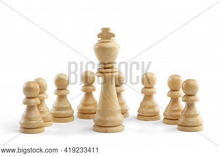 The King Stands In Front Of A Row Of White Pawns On A White Background. White Wooden Chess Pieces, C