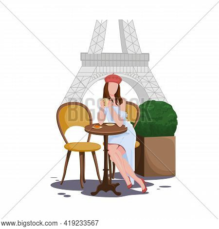 Beautiful Brunette Girl In A Street Cafe In Paris, Drinking Coffee And Eating A Croissant. Dkvushka