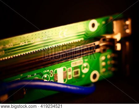 Riser For Mining On Video Card. Device For Collecting A Mining Farm. Mining Board.microcircuit For C