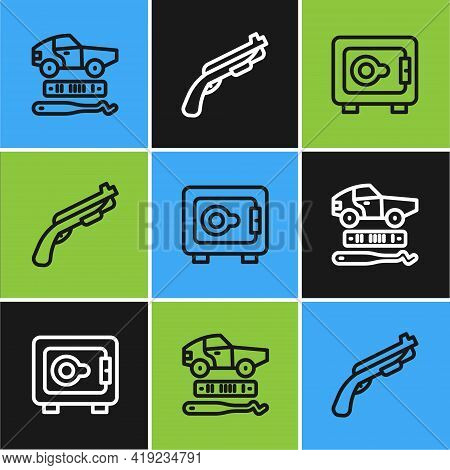 Set Line Car Theft, Safe And Police Shotgun Icon. Vector