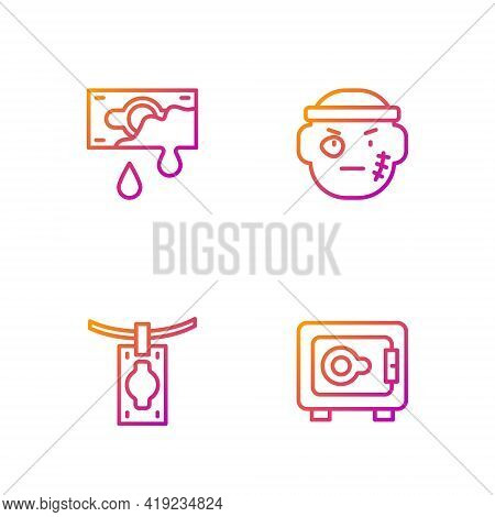 Set Line Safe, Money Laundering, Bloody Money And Bandit. Gradient Color Icons. Vector
