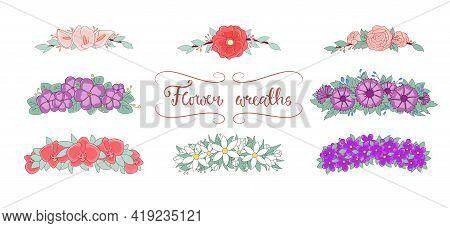 Flower Wreaths Set. Spring Flowers Wreath Set. Colorful Wedding Vector Illustrations