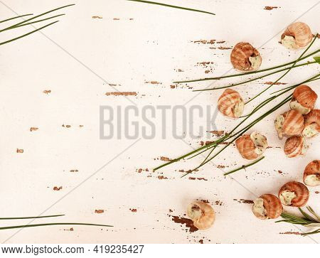 Snails escargot prepared as food tasty meal on white wooden background with chives trendy flat lay photo
