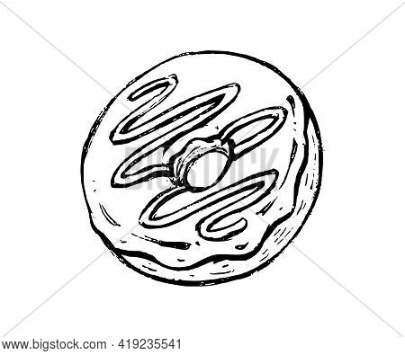 Donut Hand Drawn Doodle Icon. Vector Sketch Illustration Of Sweet Bagel Or Doughnut With Cream