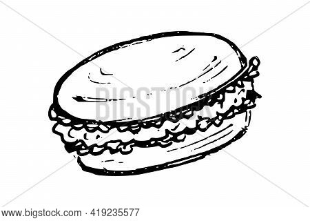 Macaroon Hand Drawn Doodle Icons. French Dessert Cake Vector Sketch, Isolated On White Background