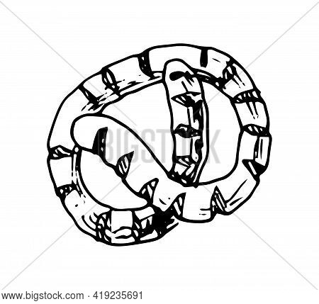 Bavarian Pretzel Hand Drawn Doodle Icon. Vector Sketch Illustration Of Pastry Isolated On White