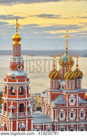 Church Of The Mother Of God Cathedral Over The Volga River On Sunset In Spring In Nizhny Novgorod, R
